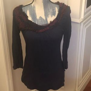 Anthropologie 3/4 Sleeve Top (Med.), EUC